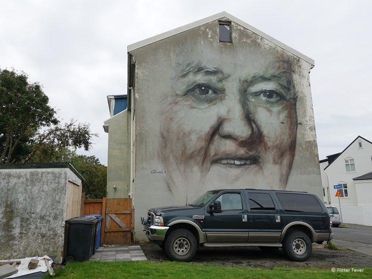 Man of the house mural older man street art Guido Van Helten Reykjavik