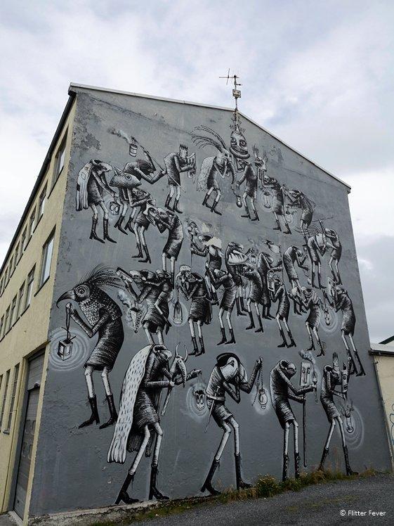 Masquerade grey mural Reykjavik Aegisgata 7