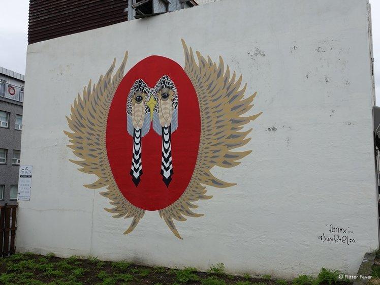 Phoenix turkey fonix by Sara Riel mural Forrettabarinn Reykjavik