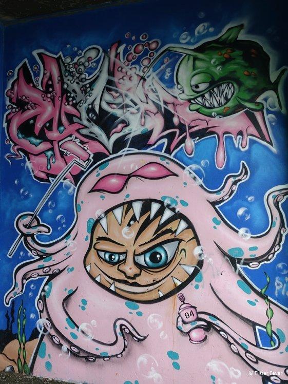 Pink octopus aquarium street art Reykjavik