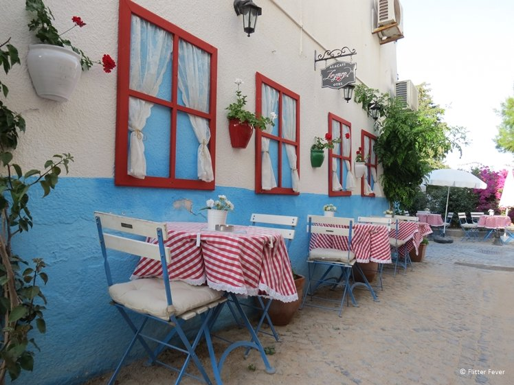 Red and white checkered tablecloths in Alacati Turkey