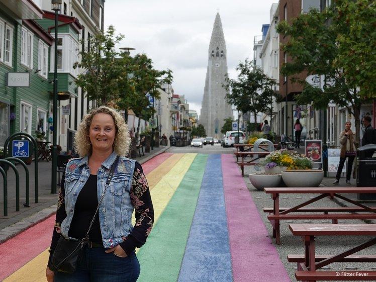 Skolavordustigur a.k.a. Rainbow Street looking out on Hallgrimskirkja (Reykjavik)