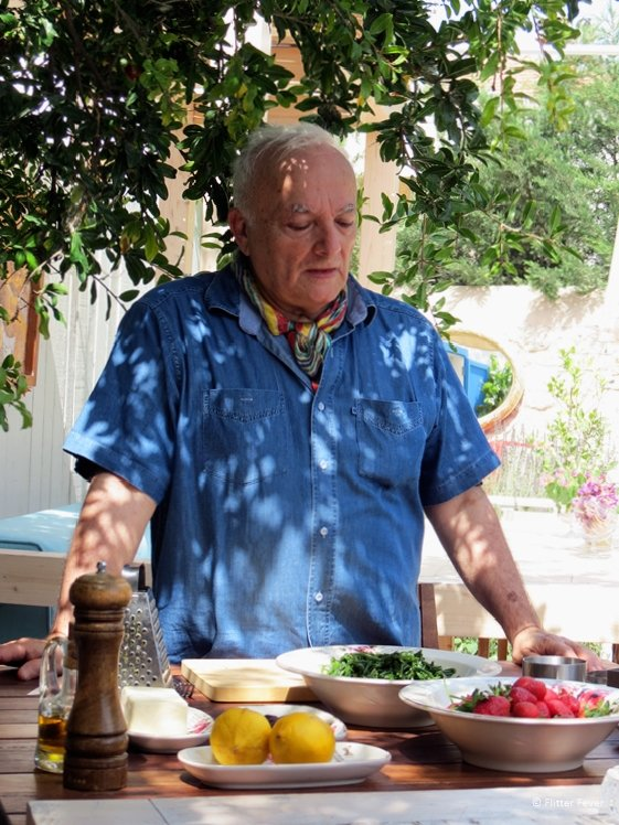 The chef explains in the sunny garden of Arven Food and Wine in Alcati