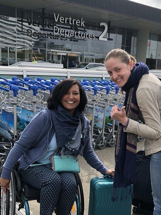 Claudia op reis met dochter Franka