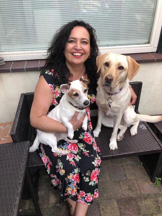 Claudia with her cute dogs Chica and Katya