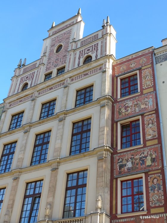 Close up of beautiful decorations on houses in Gdansk