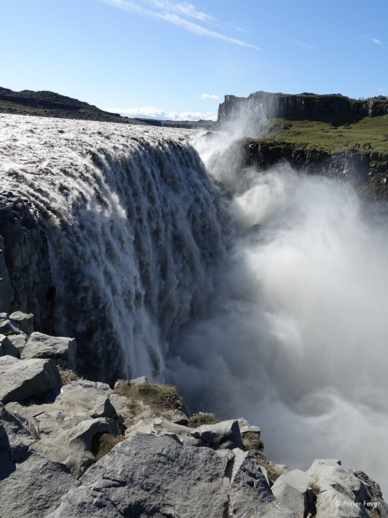 Dettifoss waterfall up close vertical