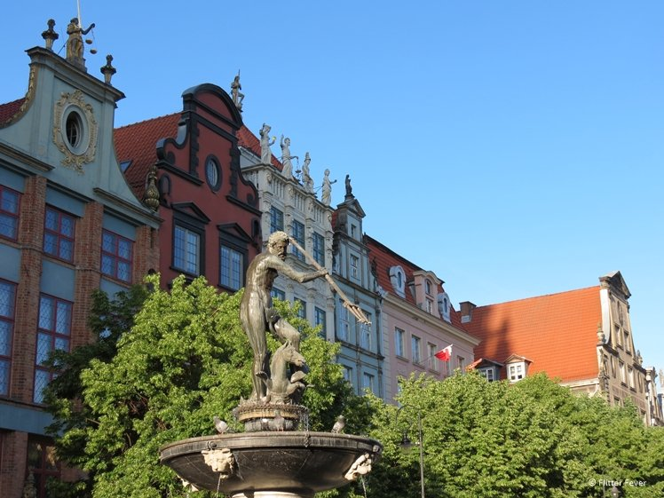 Neptunes Fountain at Dluga Square Gdansk