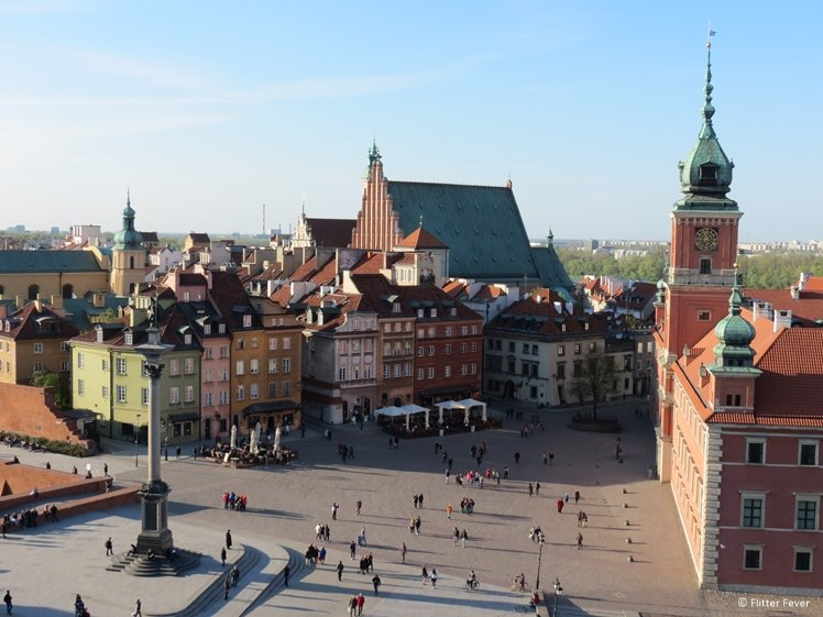 Plac Zamkowy Castle Square view from observation tower Warsaw