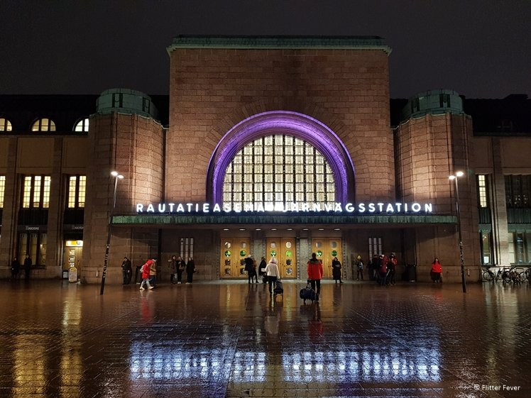Helsinki Central Station on a rainy December day at 4pm