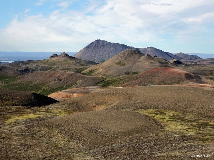Colorful mountains of Krafla volcanic area Myvatn