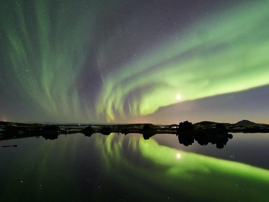 Green streams of light above Lake Myvatn