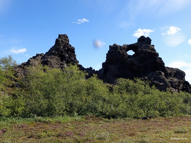 Odd lava formations, bushes and heather at Dimmuborgir