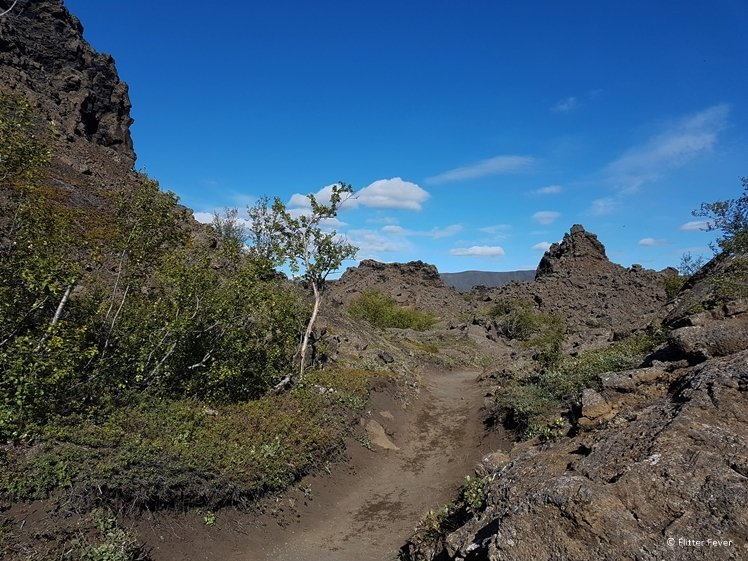 Walking around the lava formations of Dimmuborgir