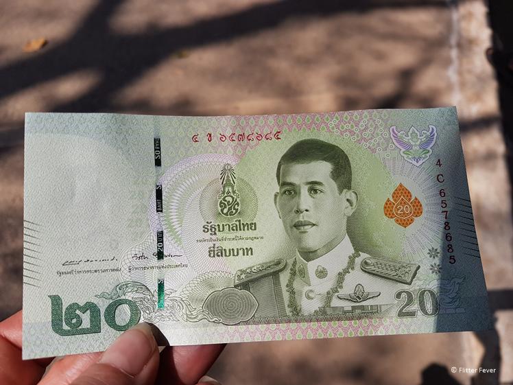 Bank note of 20 Thai Bath
