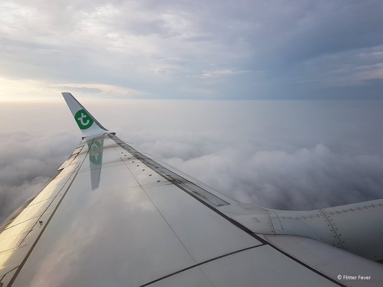 Cloudy view during flight with Transavia