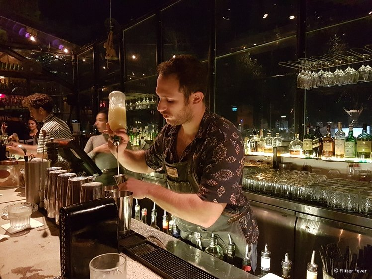 Cocktail shaker behind the bar at Suramare