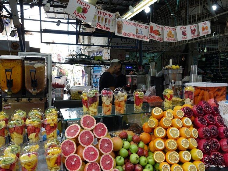 Fresh fruit bar at Carmel Market Tel Aviv