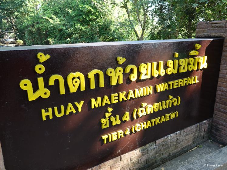 Main sign Huay Mae Khamin Waterfall
