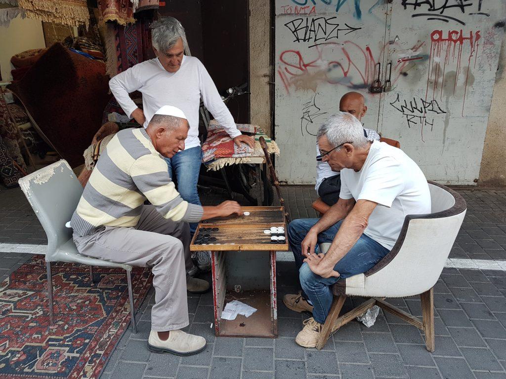 Old men playing backgammon in Jaffa