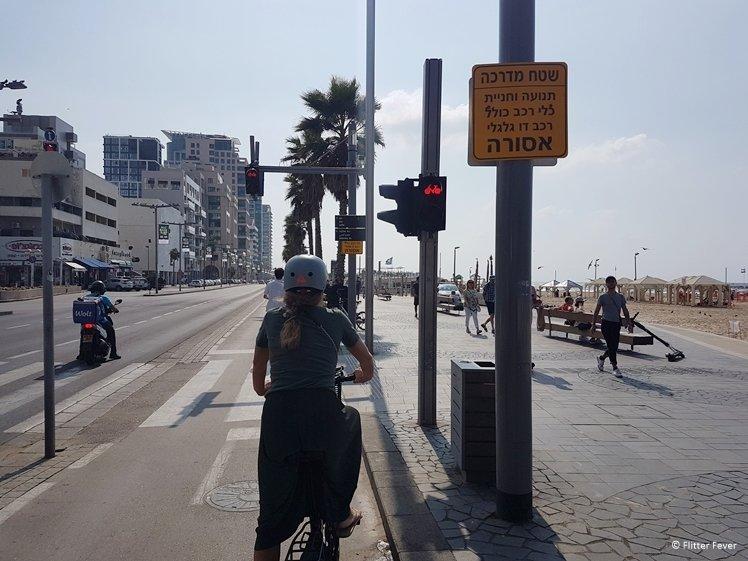 Riding our bicycles at Shlomo Lahat Promenade Tel Aviv