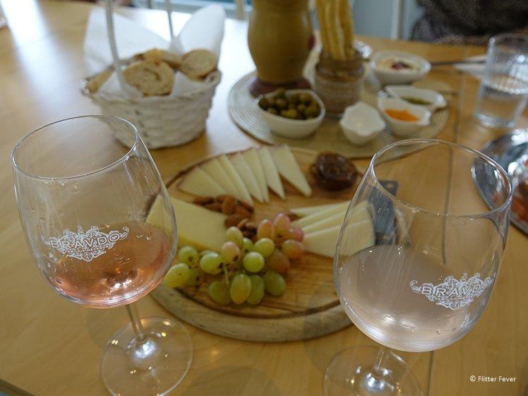 Tasting rose wines at Bravdo Winery Tel Aviv