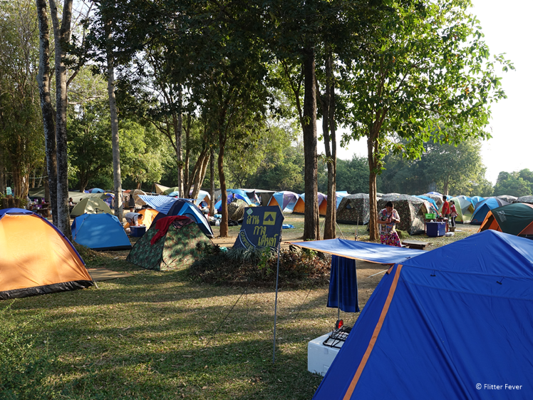 The camping site at Huay Mae Khamin Waterfalls is fully packed (Dec 30)