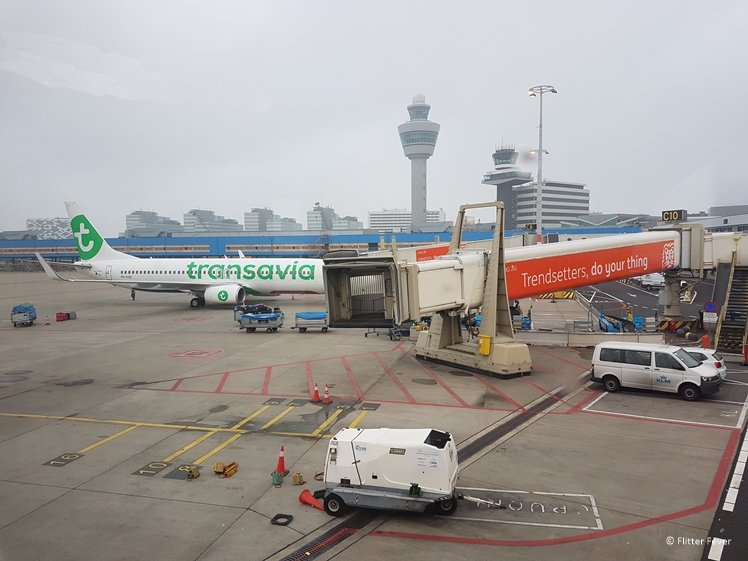 Transavia aircraft parked at Schiphol airport