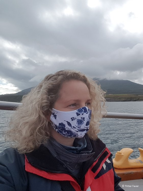 We had to wear a facemask on the whale watching boat Hauganes Iceland