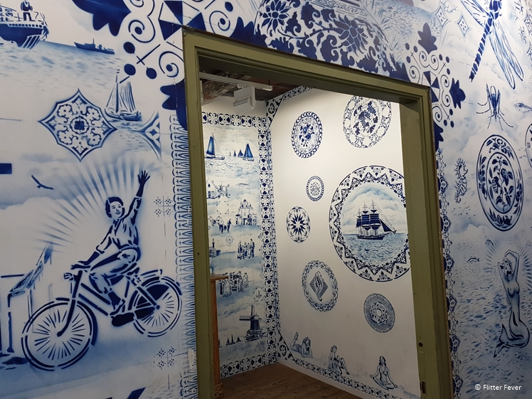 Delft Blue street art in a building at the Zuiderzeemuseum