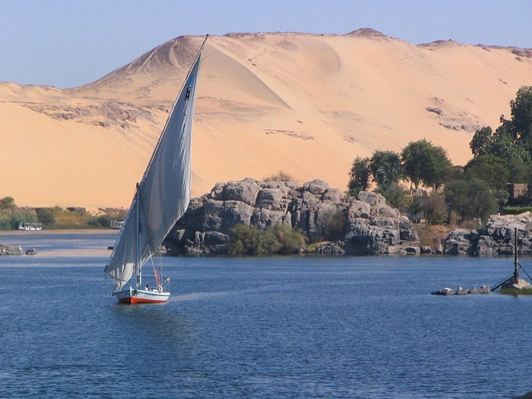 Elephantine Island seen from the river Nile