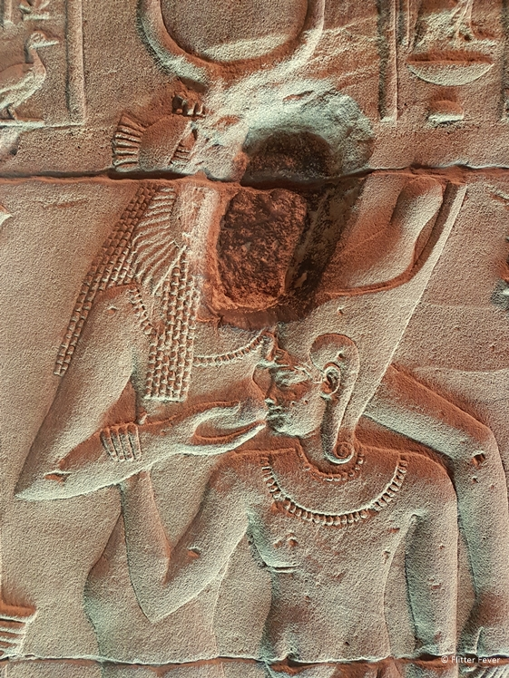Erotic image at the temple dedicated to the Goddess of fertility Isis - Philae near Aswan