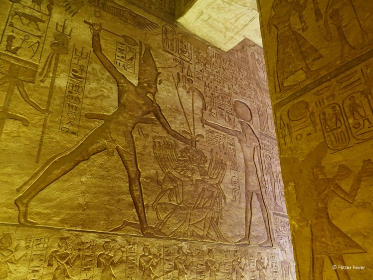 Fascinating hieroglyphs on the walls of Ramses II temple Abu Simbel