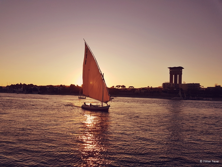 Felucca boat on the river Nile at sunset