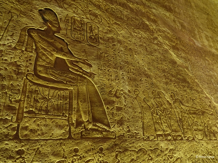 Hieroglyphs tell a story about Ramses II at Abu Simbel