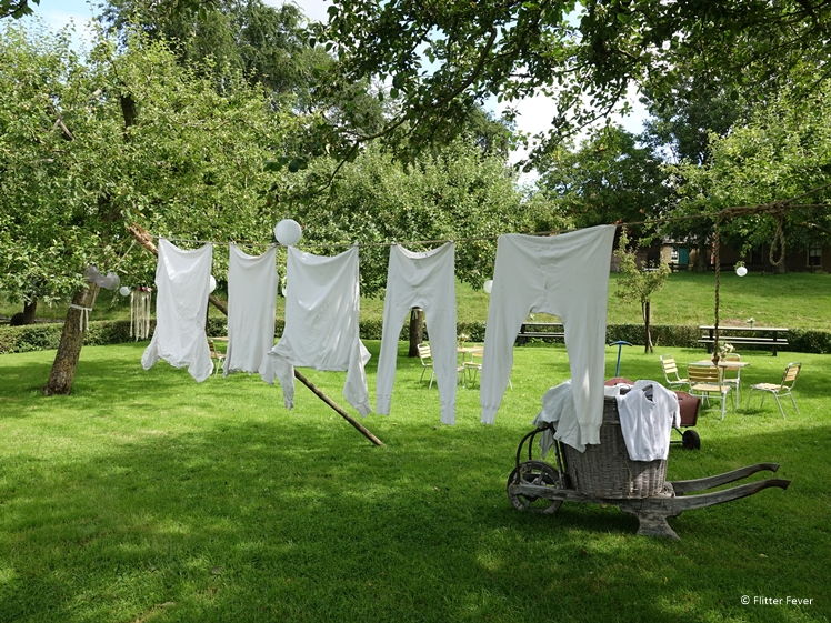 Old-fashioned underwear hangs to dry in the outdoor museum Zuiderzeemuseum