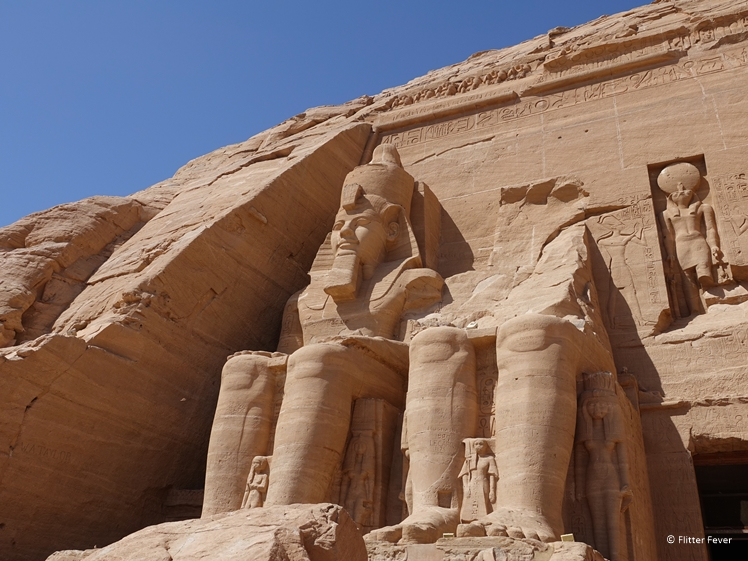 Ramses II temple Abu Simbel left side close-up
