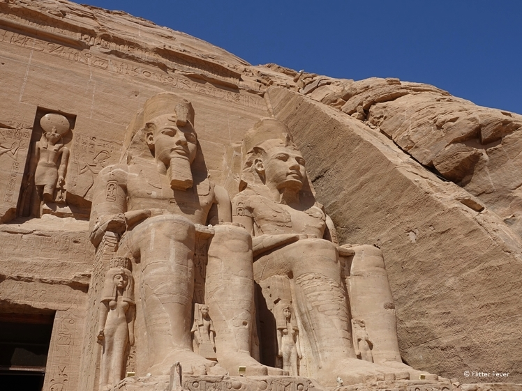 Ramses II temple Abu Simbel right side close-up