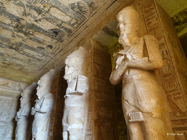 Statues inside the temple of Ramses II at Abu Simbel