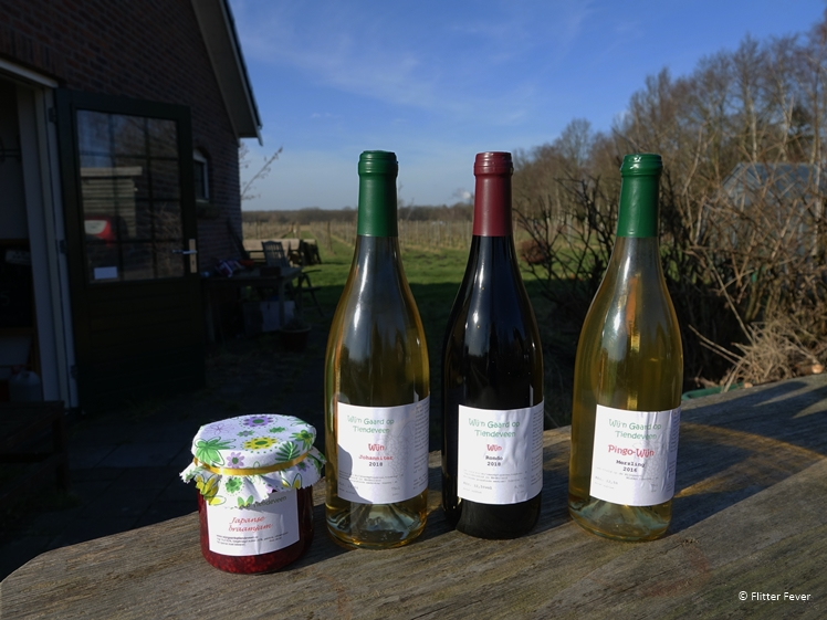 Wine bottles and jam at Wij'N Gaard op Tiendeveen in Drenthe