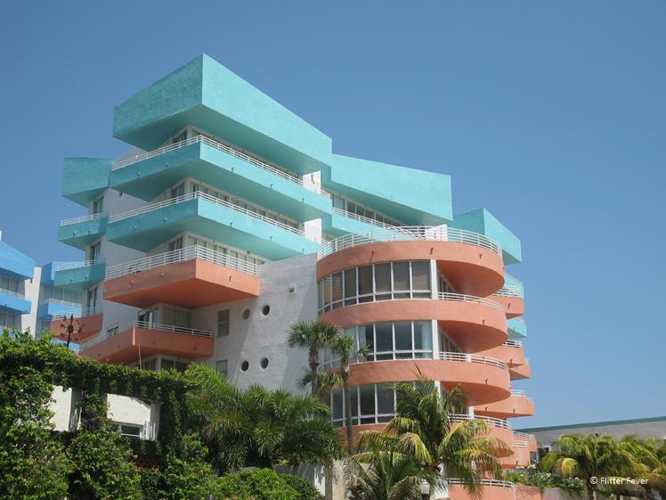 Colorful art deco building in Miami South Beach