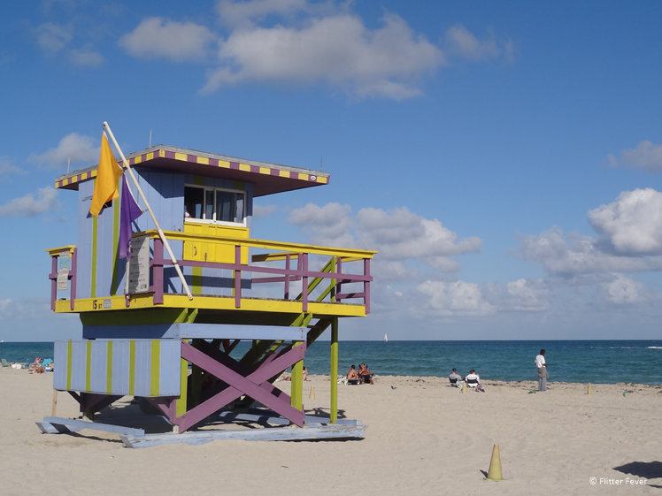 Colorful Miami Beach lifeguard cabin Florida