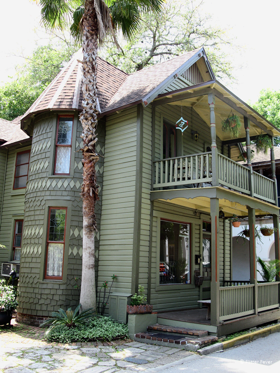 Pretty green wooden house in St. Augustine