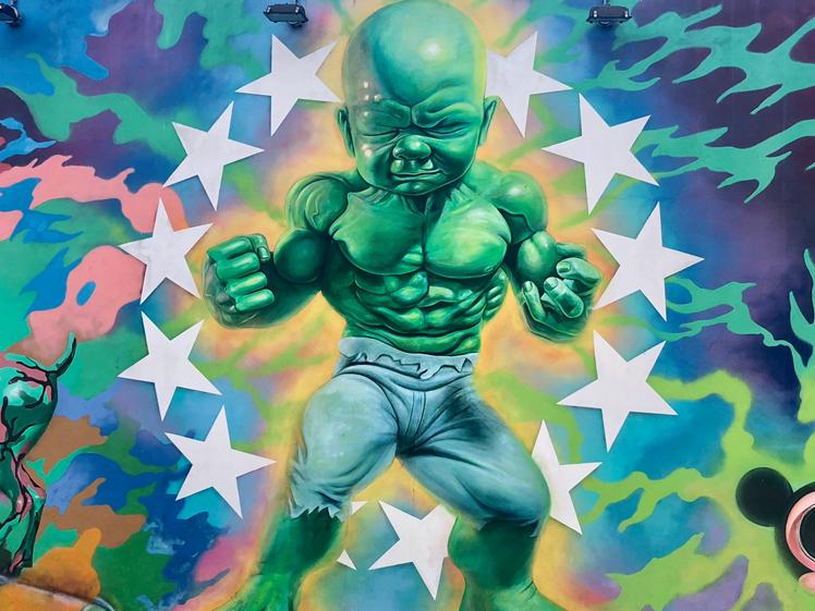 Wynwood Miami street art muscled bald green man