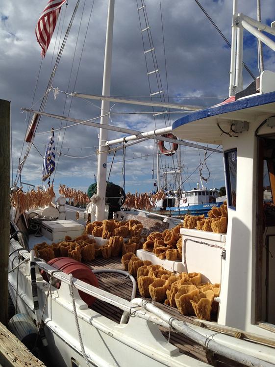 Vissersboot met sponzen in Tarpon Springs Florida