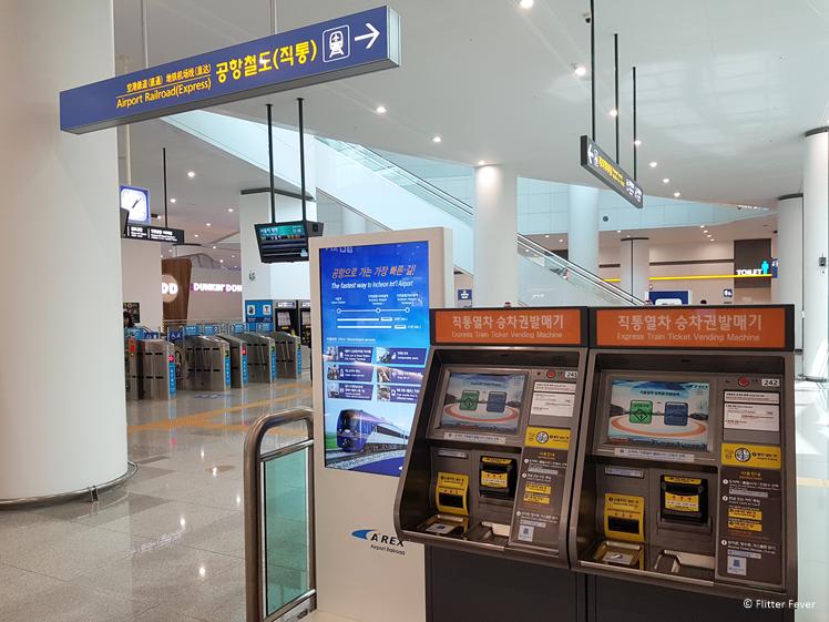 AREX railroad train ticket vending machine Incheon Airport Seoul
