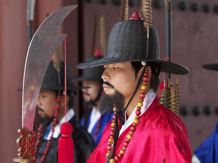 Bewaker bij het Gyeongbokgung Paleis